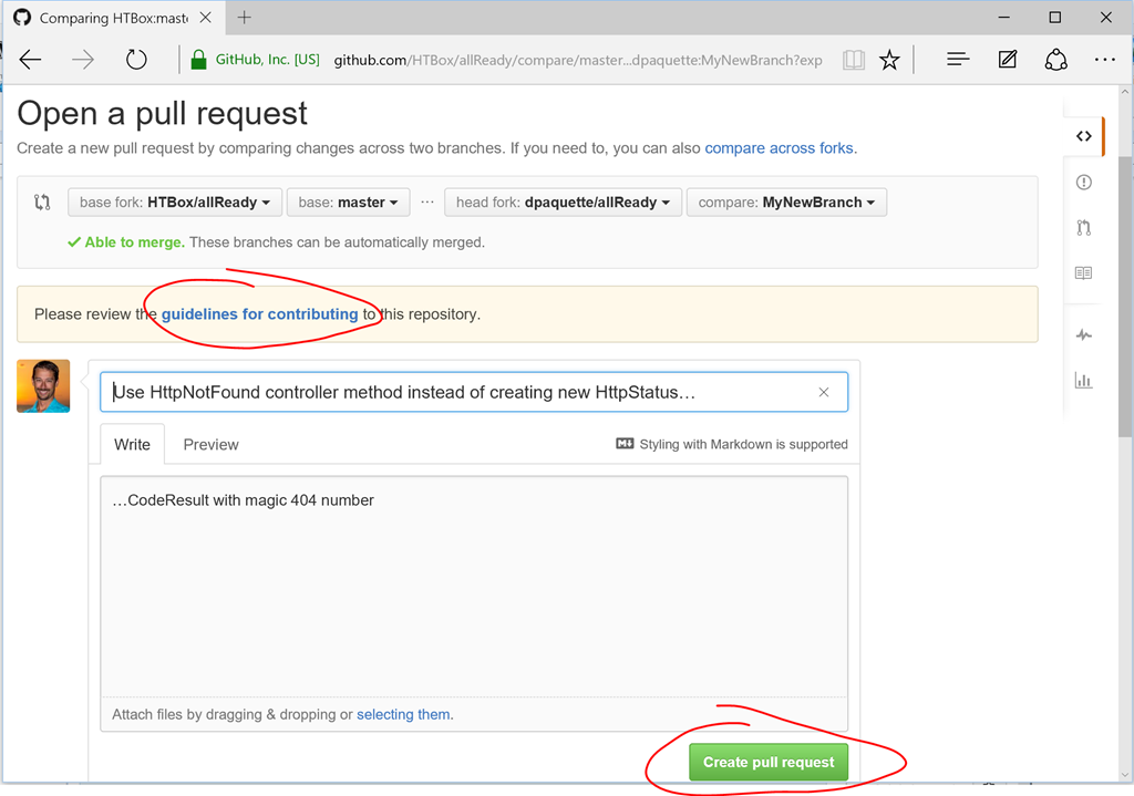 Enter pull request details