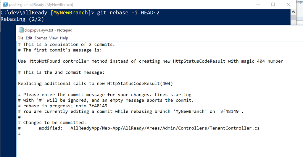 Modify commit messages