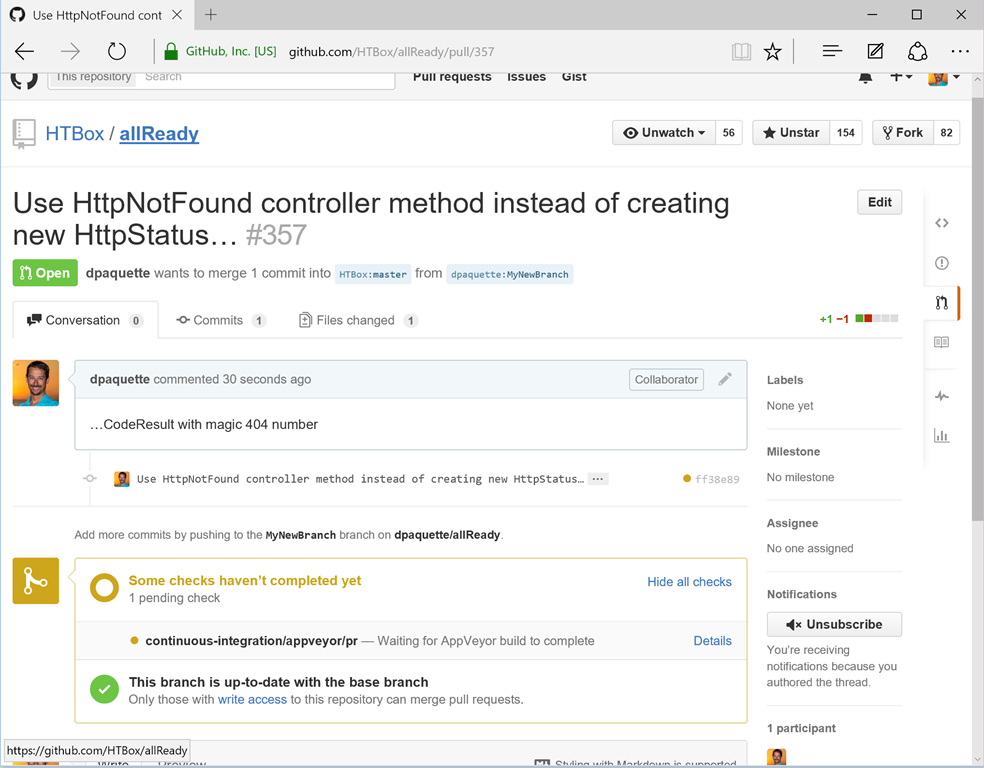 Automated checks on pull requests