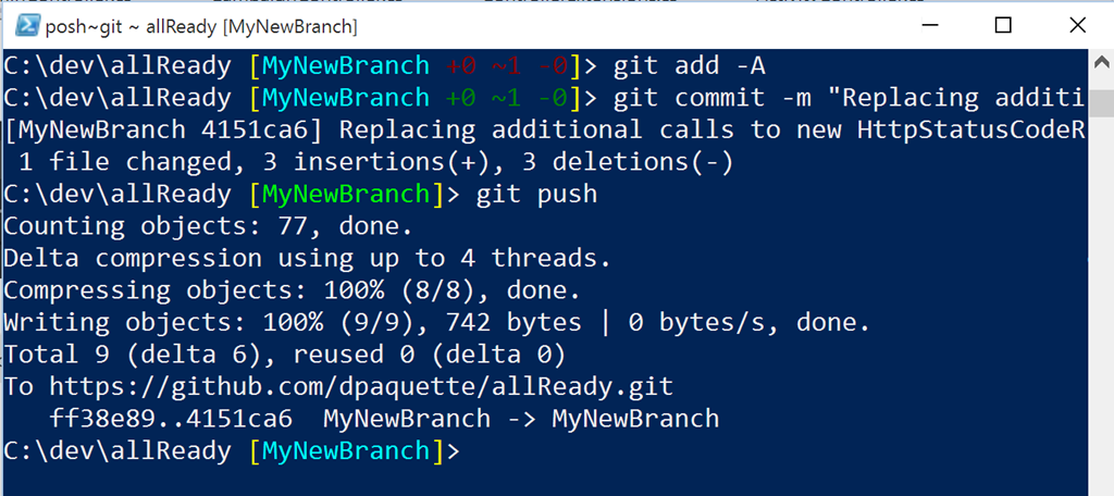Push changes to an existing pull request