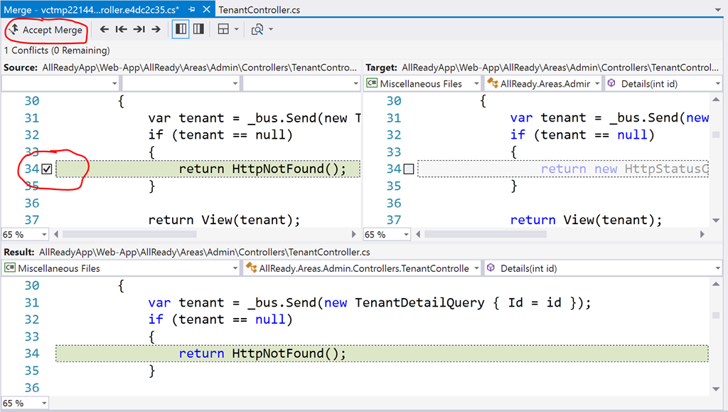 Three way merge tool in Visual Studio