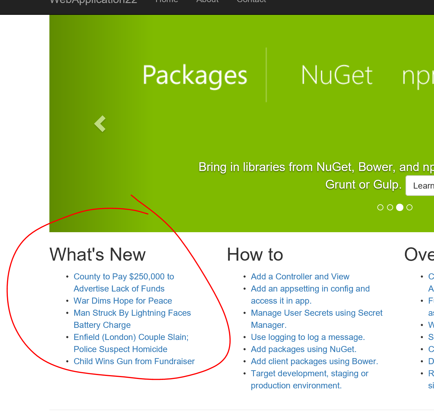 What's New View Component